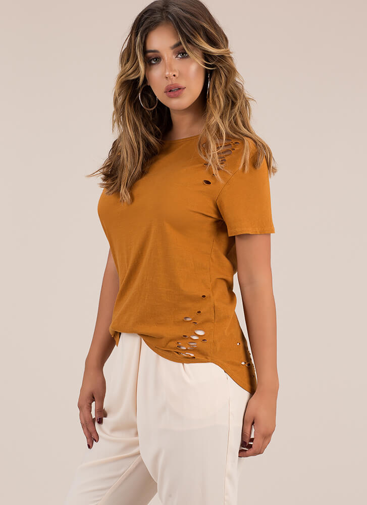 Holes In Your Story Distressed Tee MUSTARD