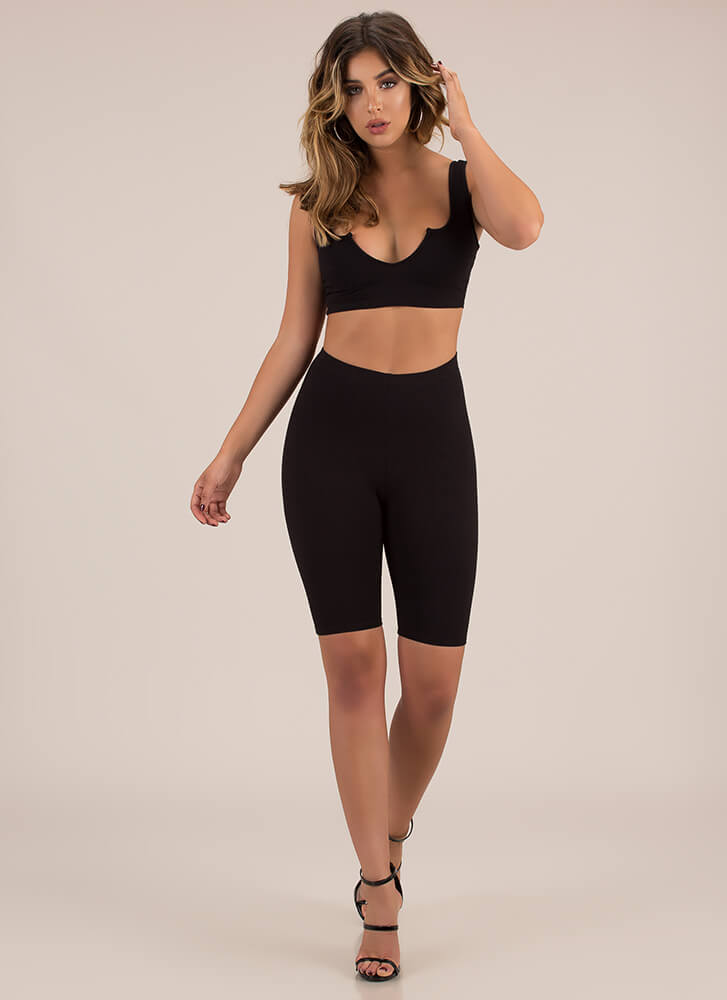 Kicked Up A Notch Top And Shorts Set BLACK