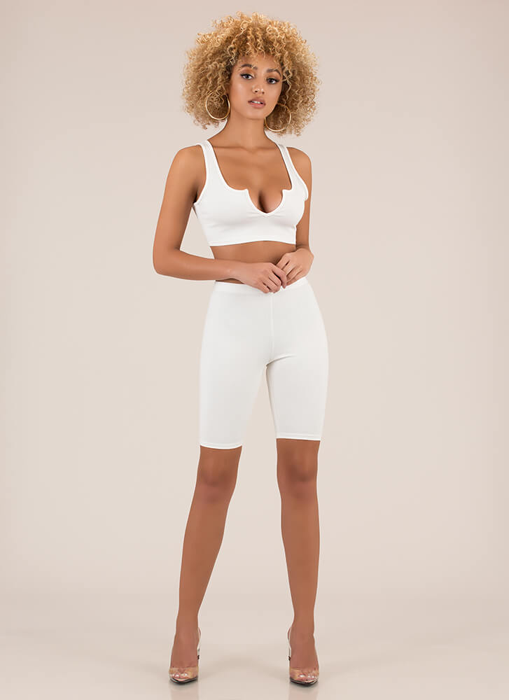 Kicked Up A Notch Top And Shorts Set WHITE