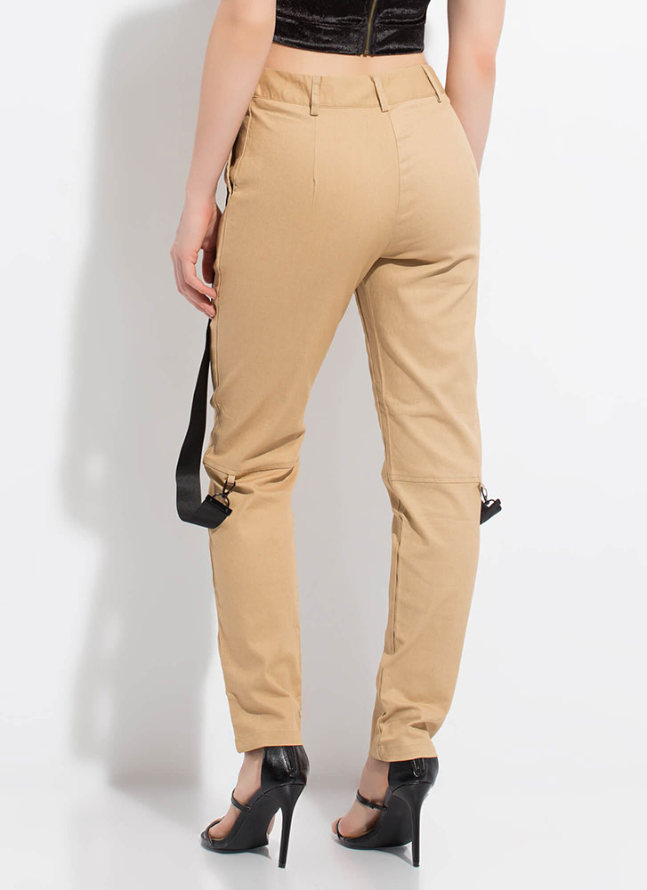 Strapped In The Closet Slim-Fit Trousers KHAKI
