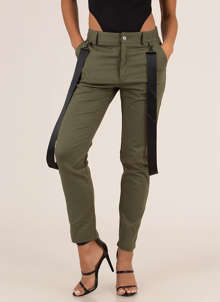 Strapped In The Closet Slim-Fit Trousers OLIVE