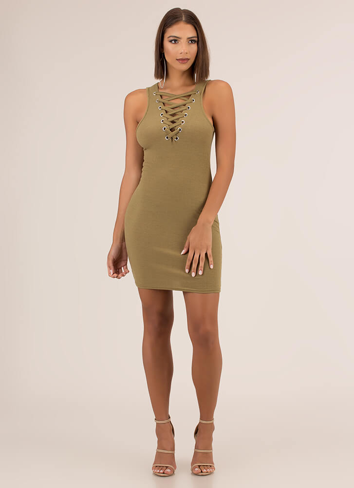 Ready Or Not Laced Rib Knit Minidress LTOLIVE