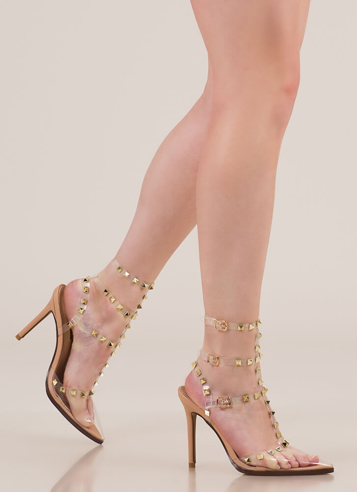 Clear Statement Pointy Studded Heels NUDE