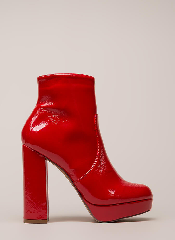 Disco Fever Chunky Platform Booties RED