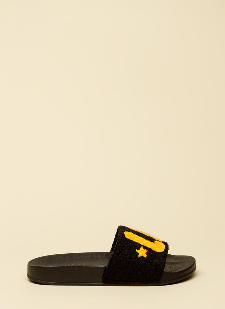 Love It Graphic Faux Fur Slide Sandals BLACK