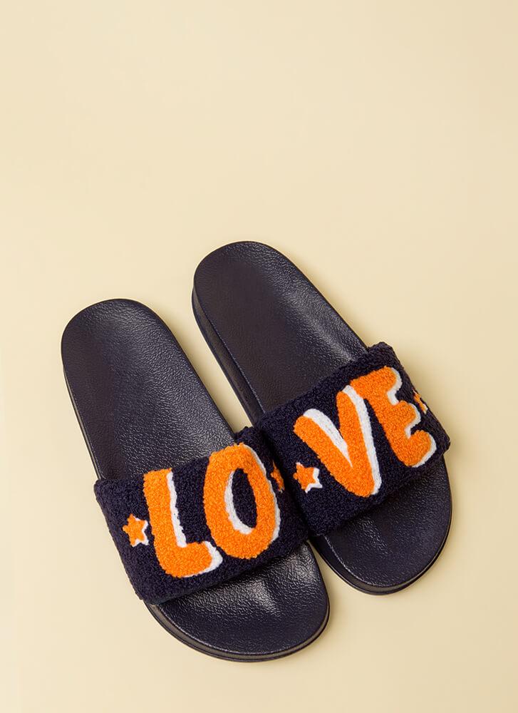 Love It Graphic Faux Fur Slide Sandals BLUE