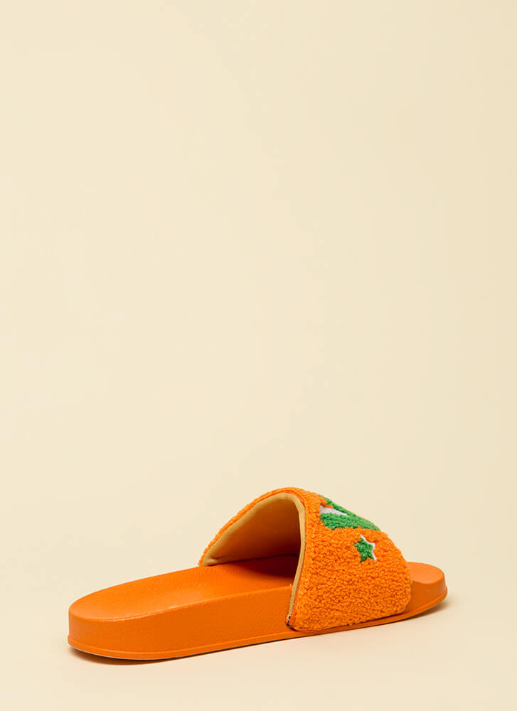 Love It Graphic Faux Fur Slide Sandals ORANGE