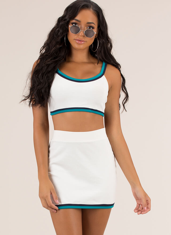 Just A Little Trim Top And Skirt Set WHITE