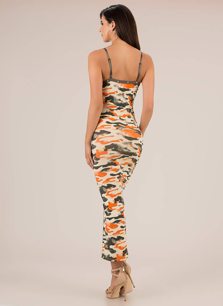 Camo Couture Studded Slit Maxi Dress ORANGE