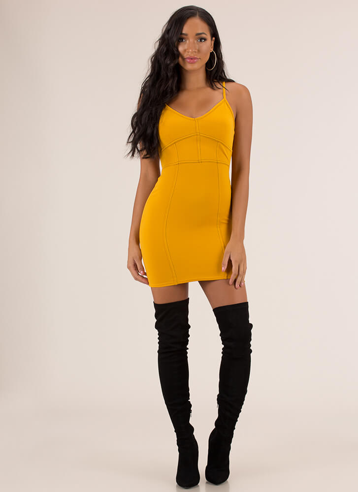 Neat And Trim Stitched Minidress MUSTARD