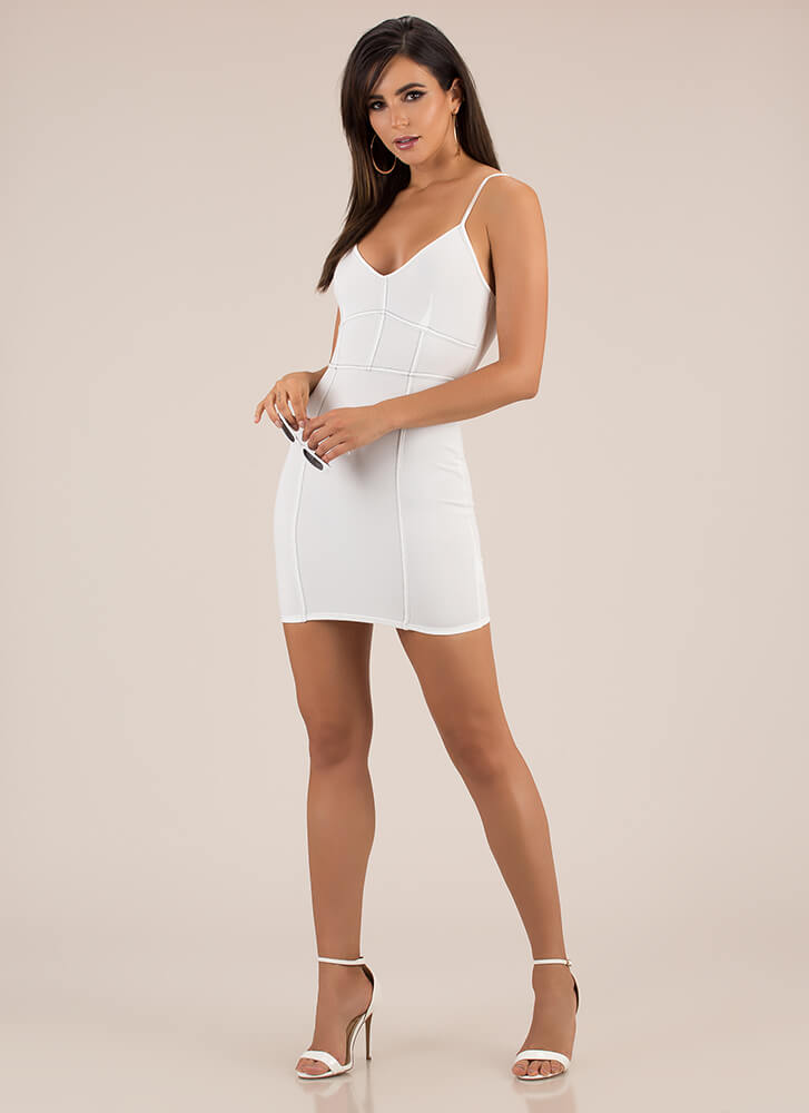 Neat And Trim Stitched Minidress WHITE