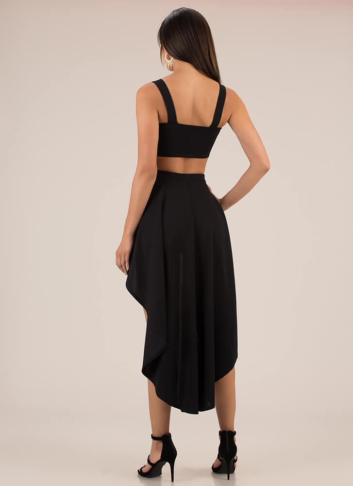 Skirt Chaser Buckled Two-Piece Set BLACK