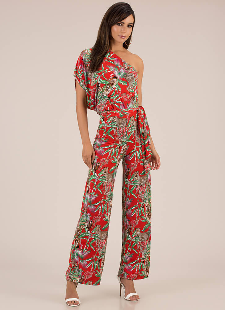 The Jungle Look Tropical Jumpsuit RED