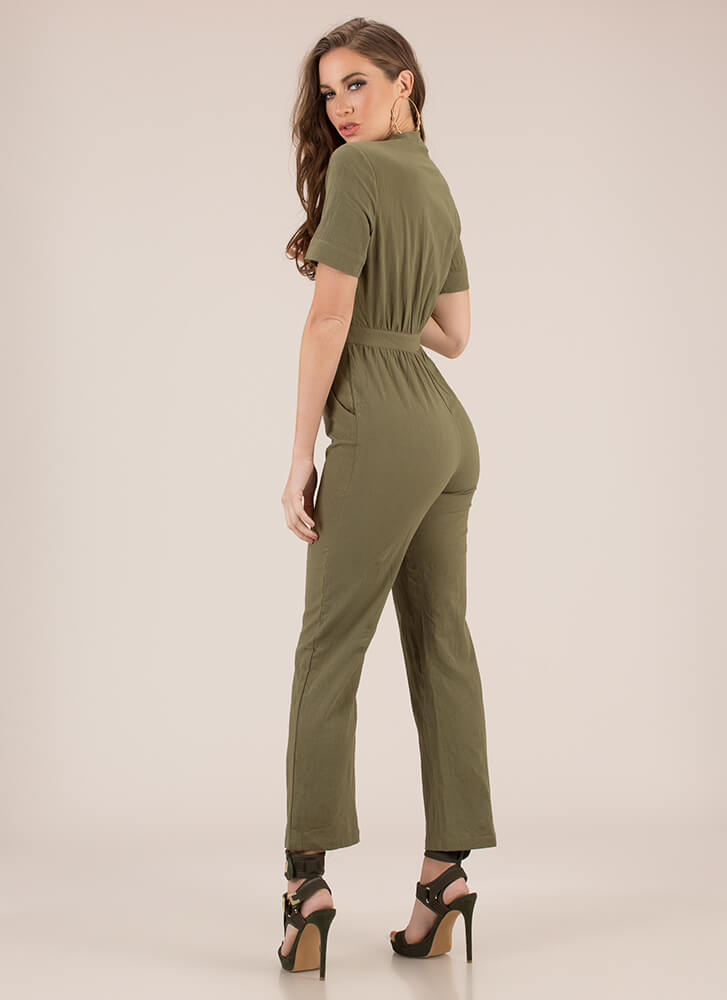 It Works For Me Zip-Front Jumpsuit OLIVE