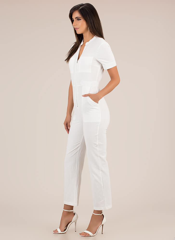 It Works For Me Zip-Front Jumpsuit WHITE
