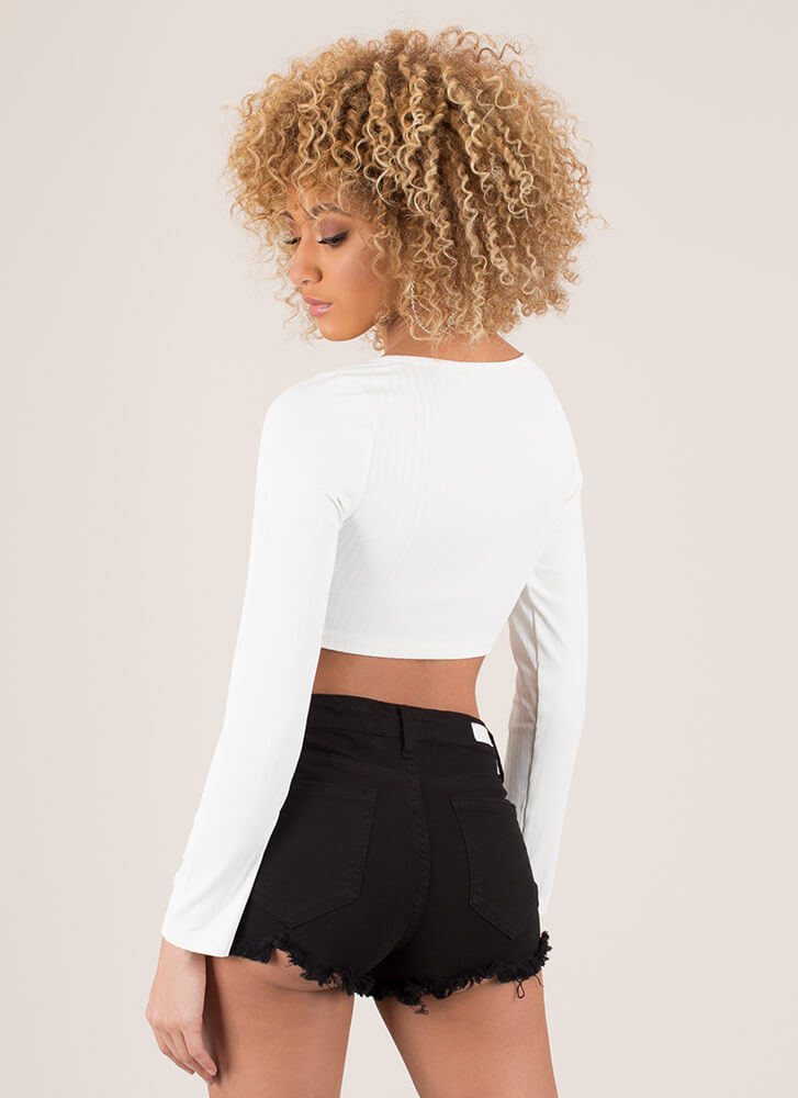 Hooked On You Rib Knit Crop Top WHITE