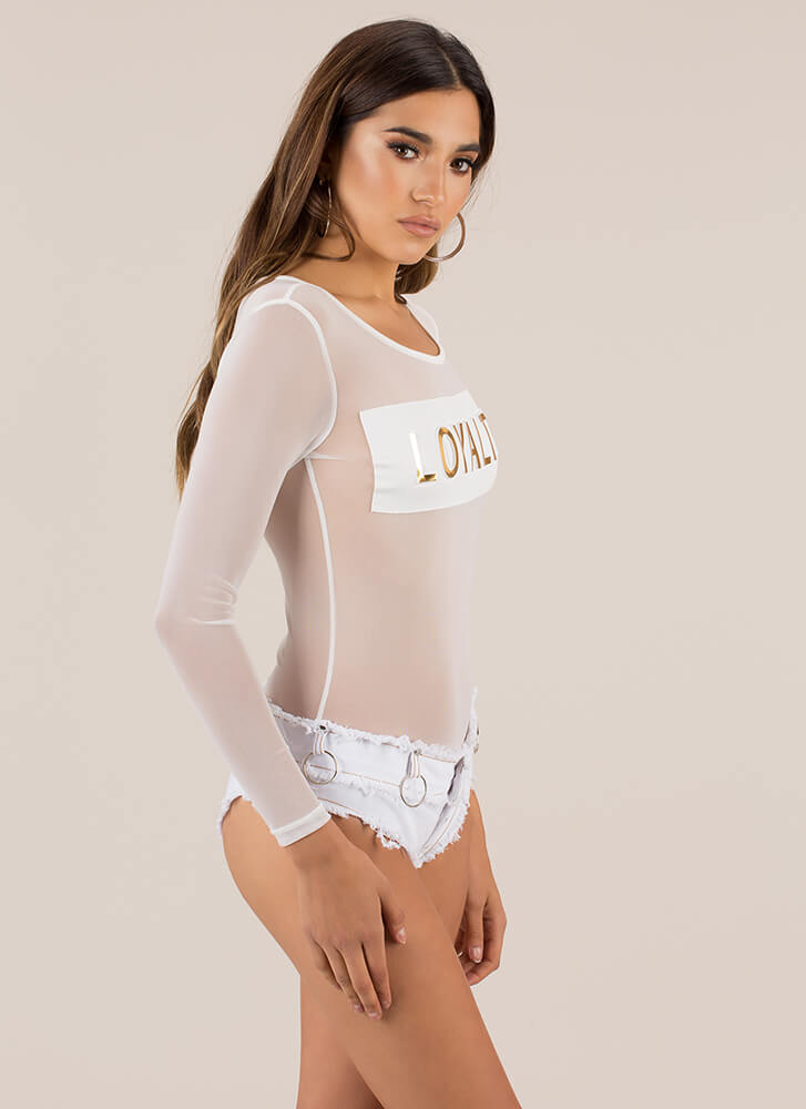 Loyalty Points Mesh Thong Bodysuit WHITE