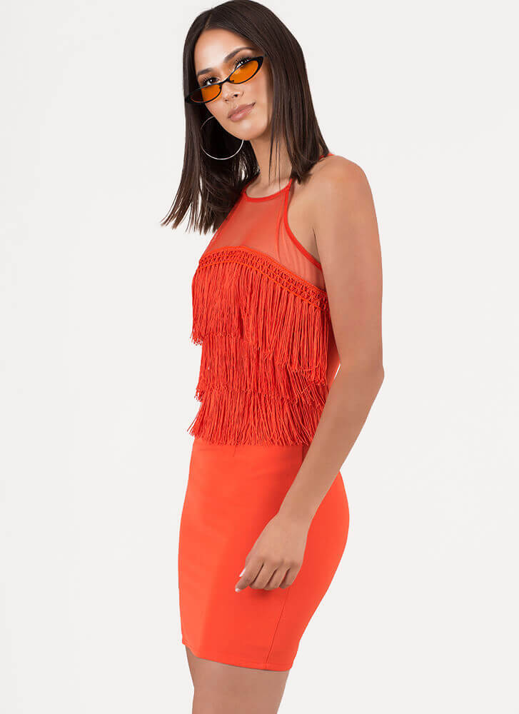 Fab Fringe Mesh Contrast Minidress ORANGE