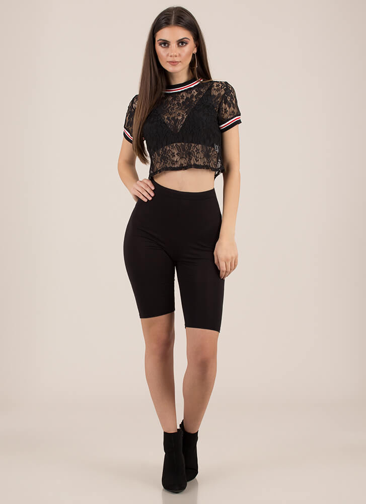 Eclectic Tastes Striped Lace Crop Top BLACK (You Saved $10)
