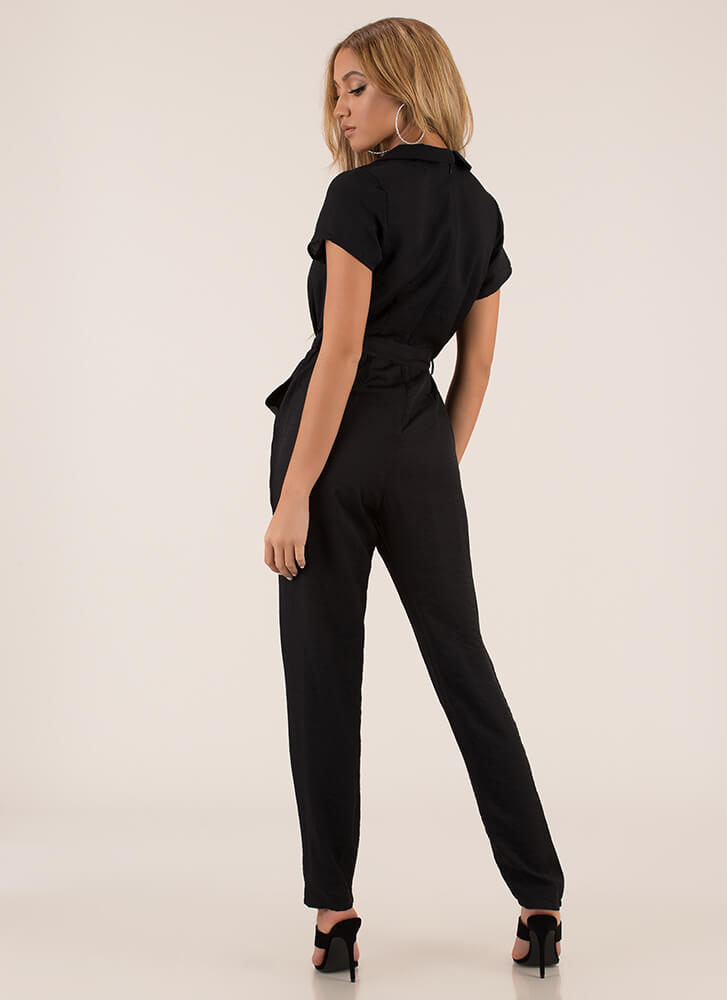 Ready To Work Solid Belted Jumpsuit BLACK