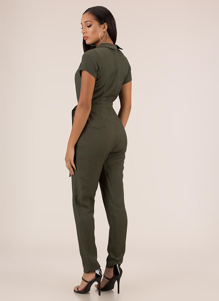 Ready To Work Solid Belted Jumpsuit OLIVE