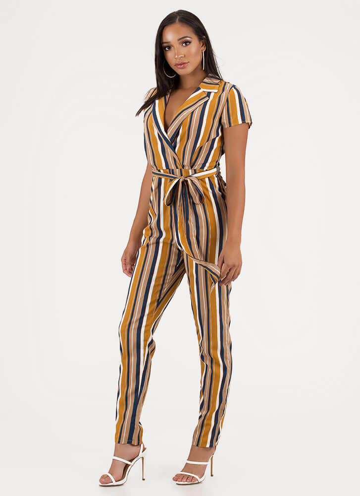 Ready To Work Striped Belted Jumpsuit MUSTARD