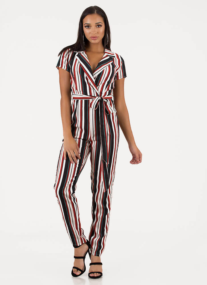 Ready To Work Striped Belted Jumpsuit RUST