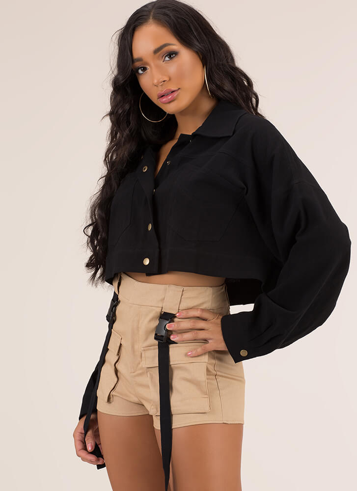Cool Girl Cropped Button-Up Jacket BLACK