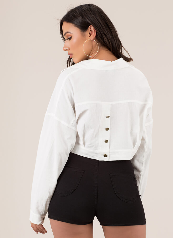 Cool Girl Cropped Button-Up Jacket OFFWHITE (You Saved $15)