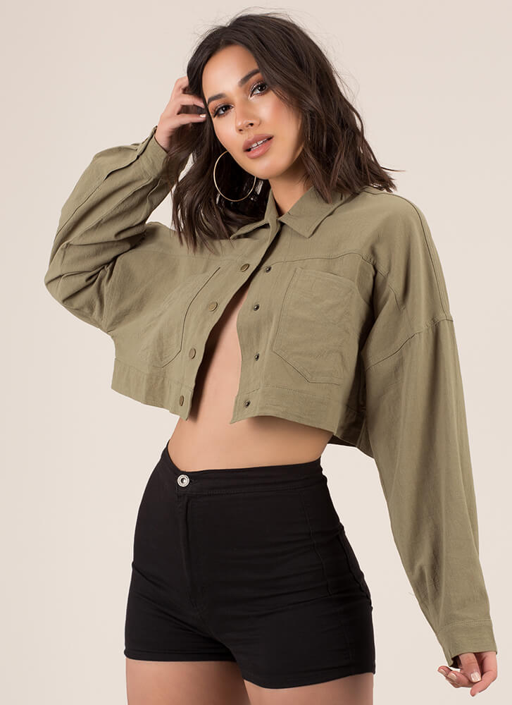 Cool Girl Cropped Button-Up Jacket OLIVE (You Saved $15)