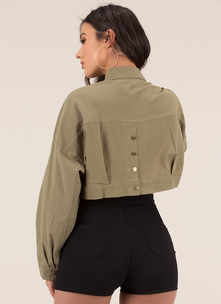 Cool Girl Cropped Button-Up Jacket OLIVE