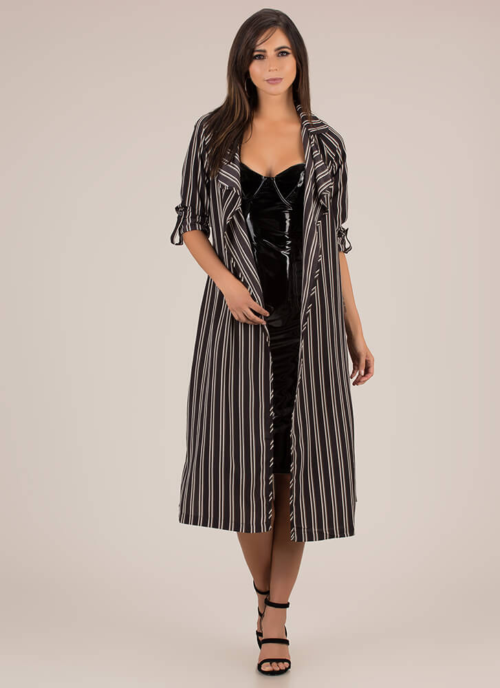 Pardon My Trench Striped Duster BLACK