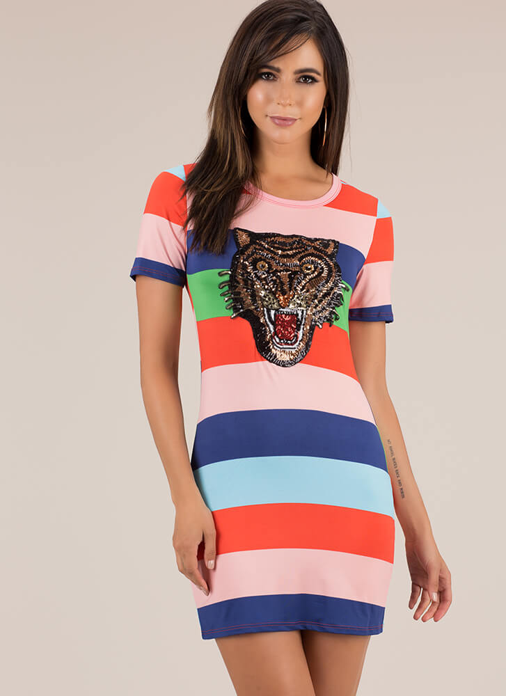 Tiger Bomb Sequined Striped Dress MULTI