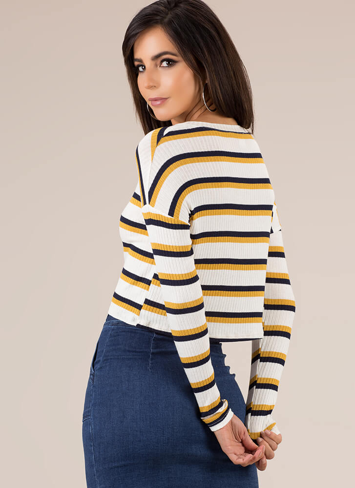 Casual Saturday Striped Rib Knit Top MUSTARDNAVY