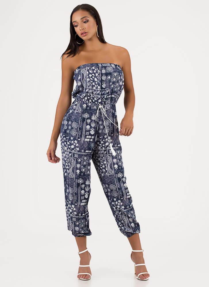 Pretty Paisley Strapless Floral Jumpsuit BLUE