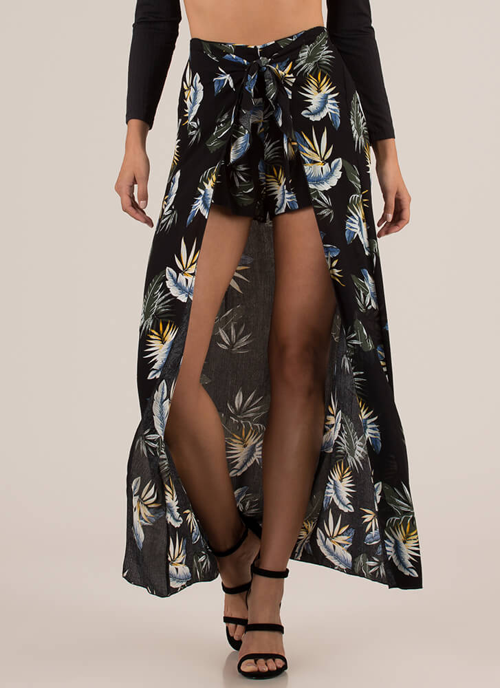 Tropical Sarong Tie-Front Maxi Shorts BLACK
