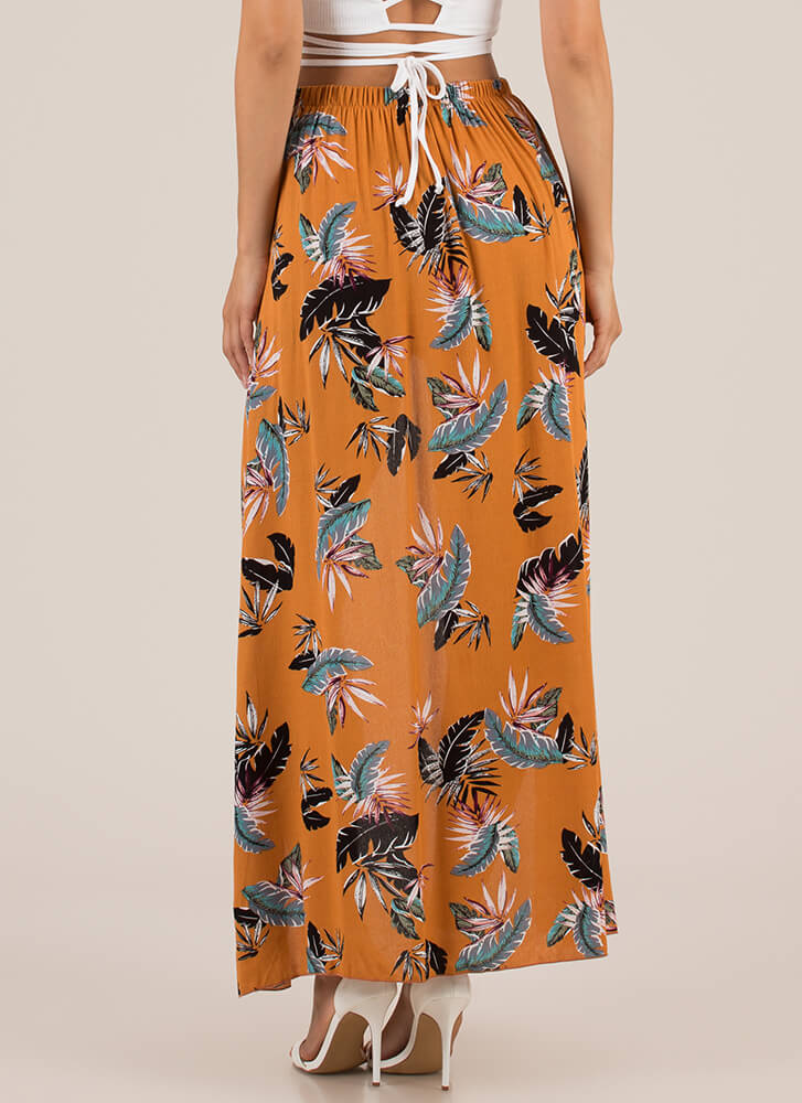 Tropical Sarong Tie-Front Maxi Shorts ORANGE