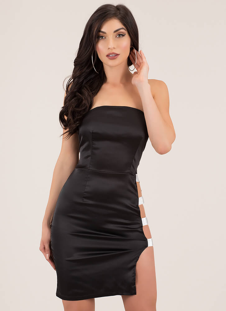 Strappy Thoughts Cut-Out Tube Dress BLACK