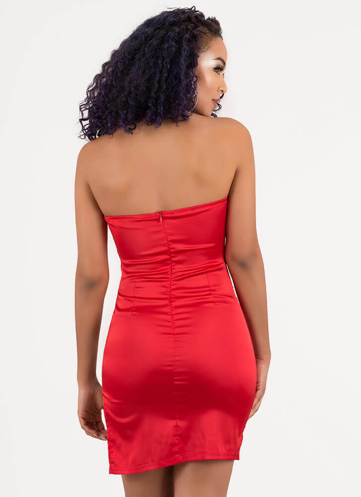 Strappy Thoughts Cut-Out Tube Dress RED