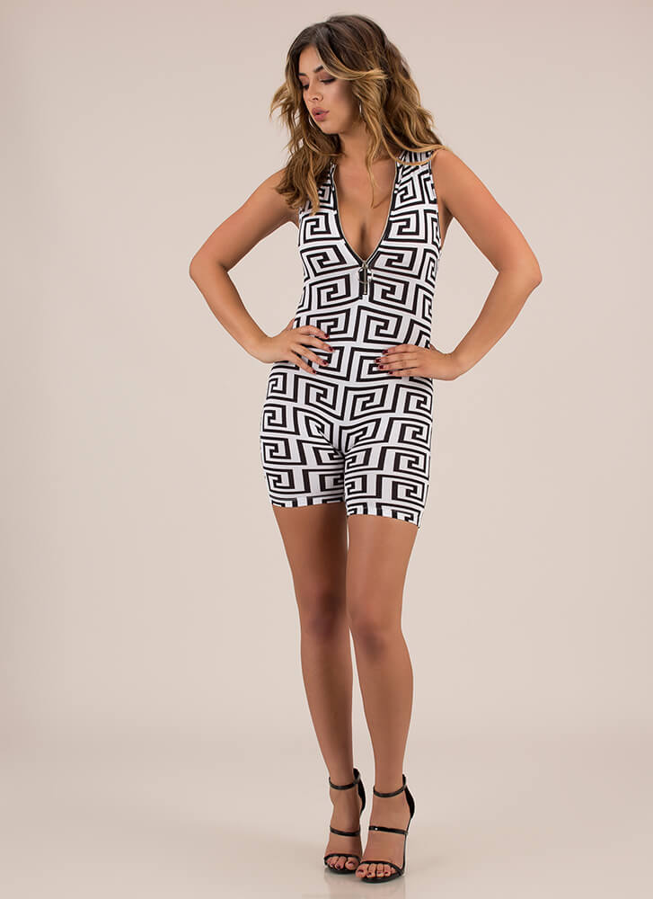 Greek Key To Success Zip-Front Romper WHITE