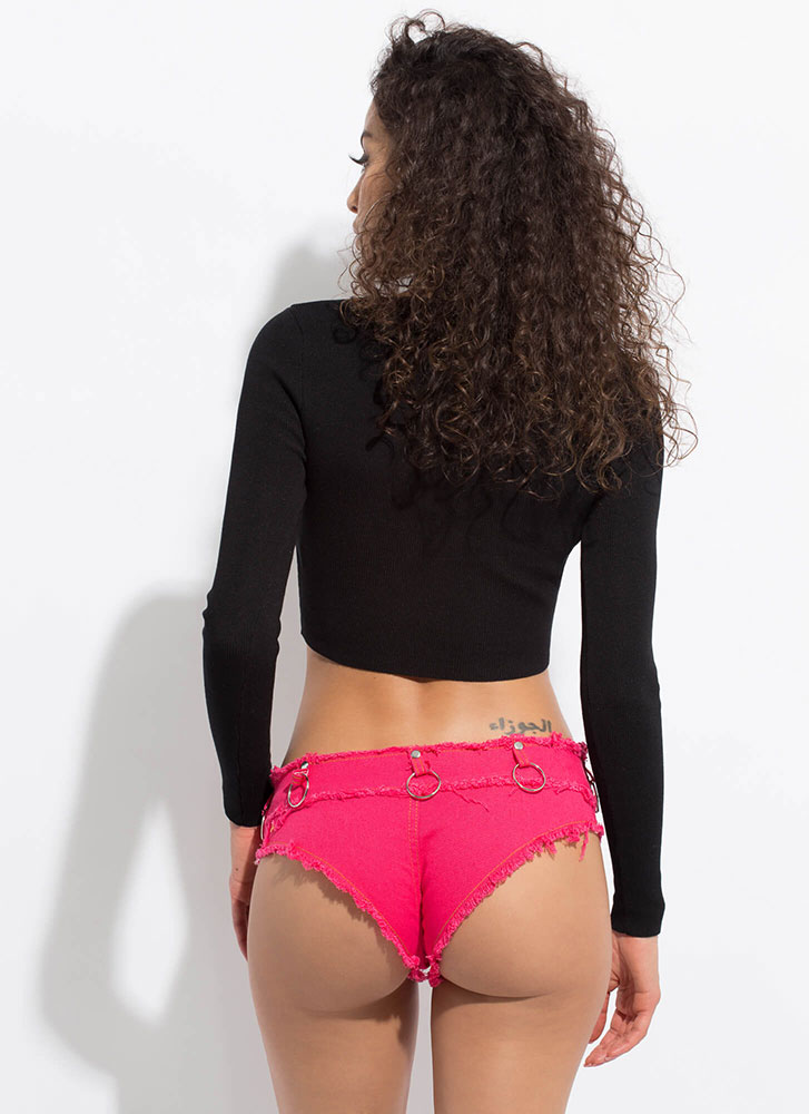 Ring It On Fringed Denim Booty Shorts FUCHSIA