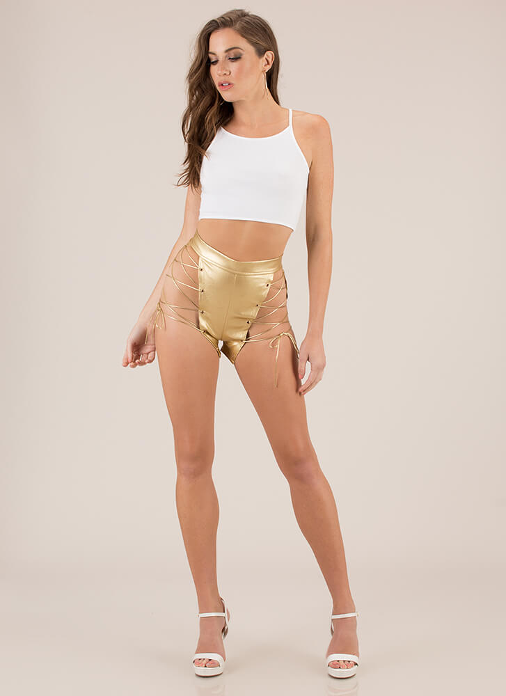 Leather And Laces Cut-Out Shorts GOLD