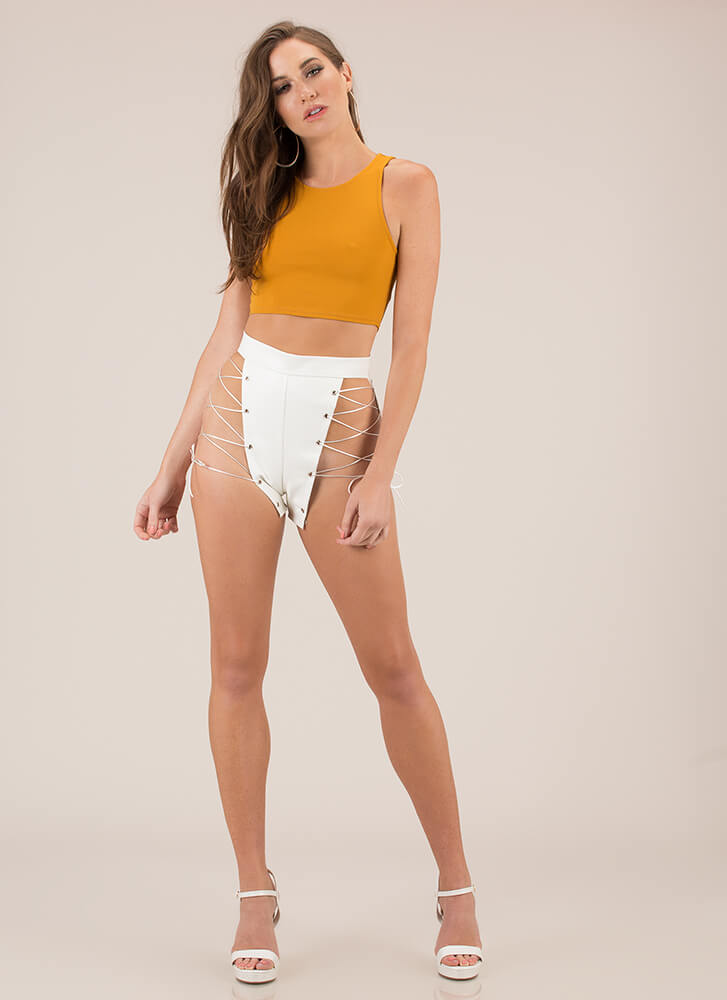 Leather And Laces Cut-Out Shorts WHITE