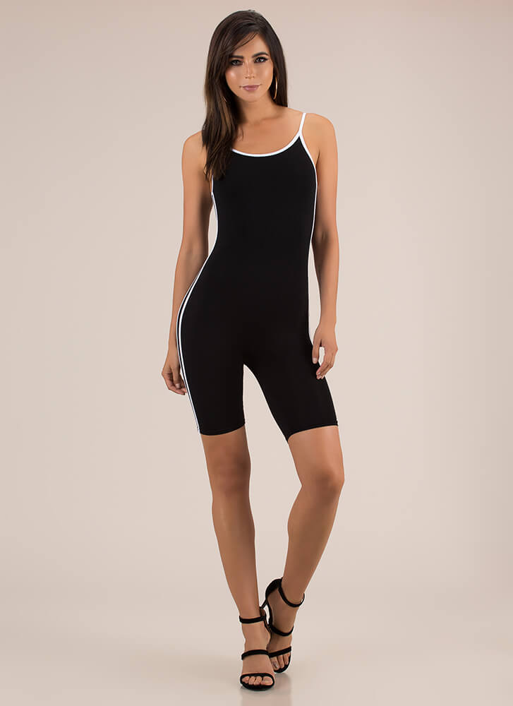 Fruits Of My Labor Sporty Striped Romper BLACK