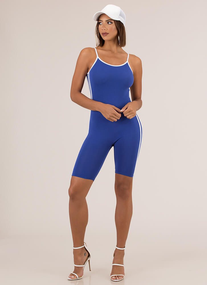 Fruits Of My Labor Sporty Striped Romper ROYAL