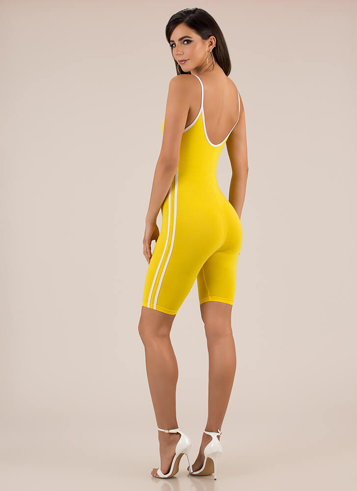Fruits Of My Labor Sporty Striped Romper YELLOW