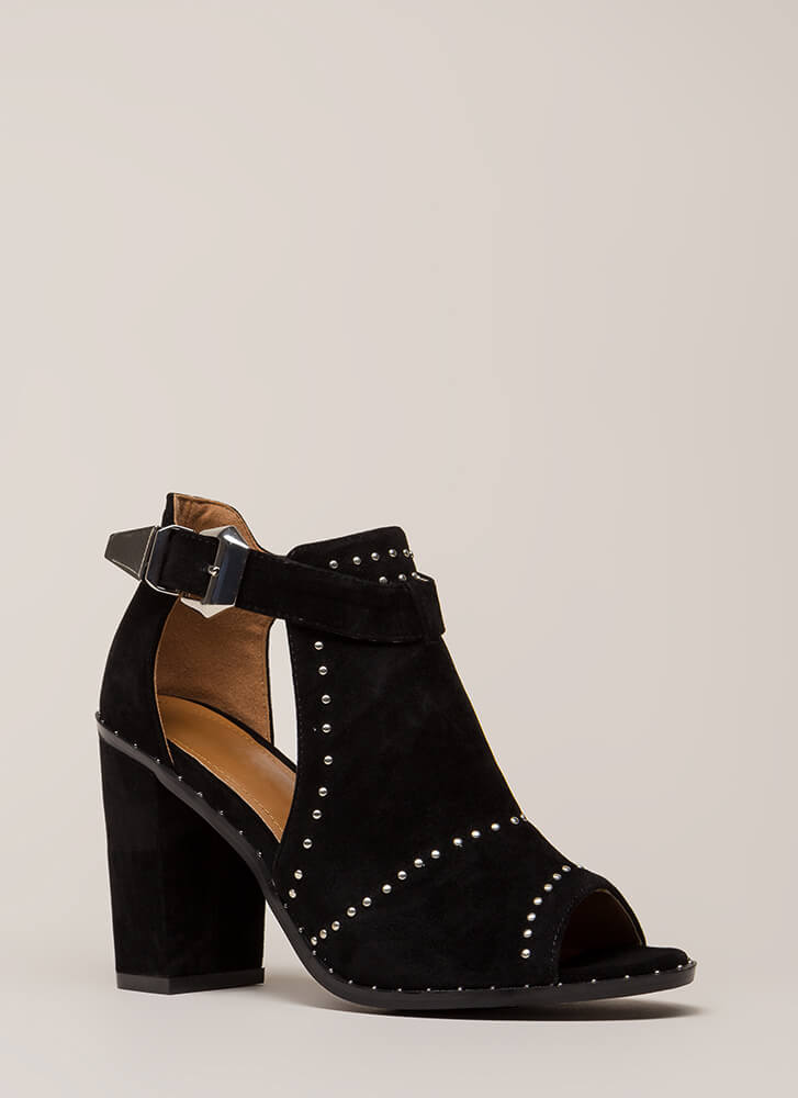 Studs In The City Cut-Out Chunky Heels BLACK