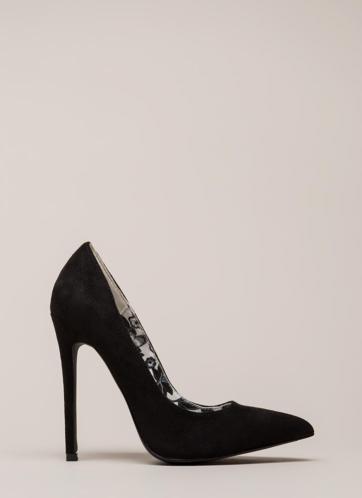Inside And Out Pointy Faux Suede Pumps BLACK