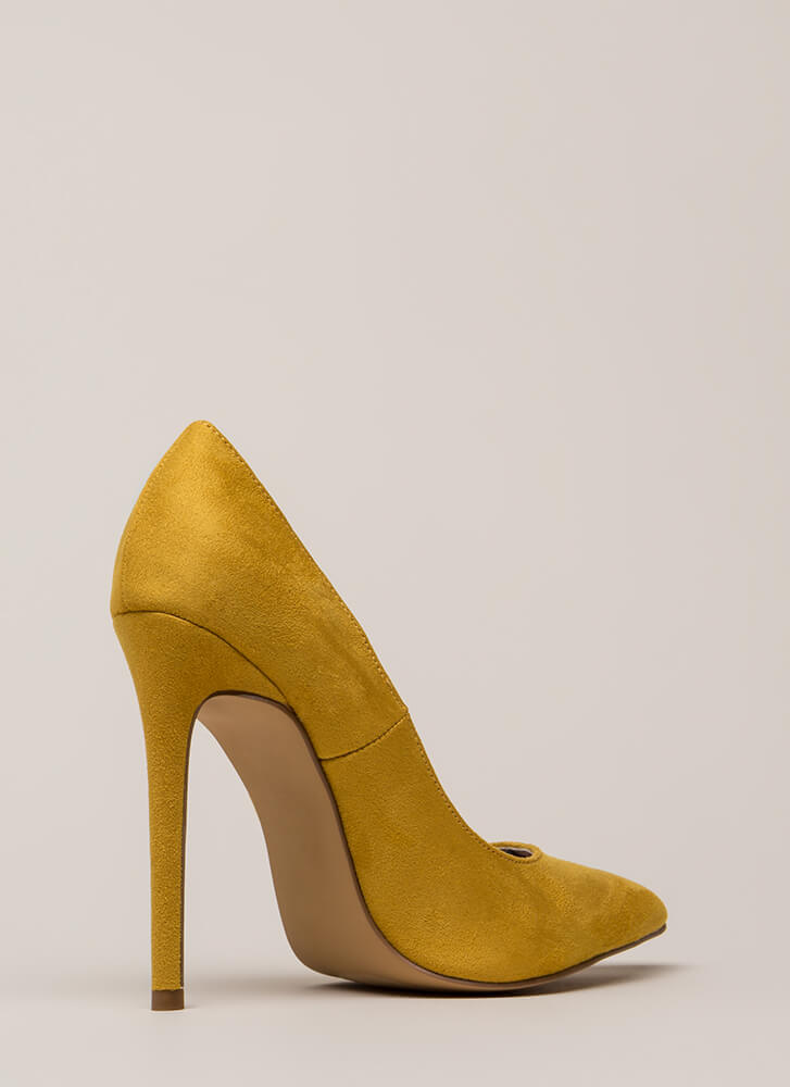 Inside And Out Pointy Faux Suede Pumps MUSTARD