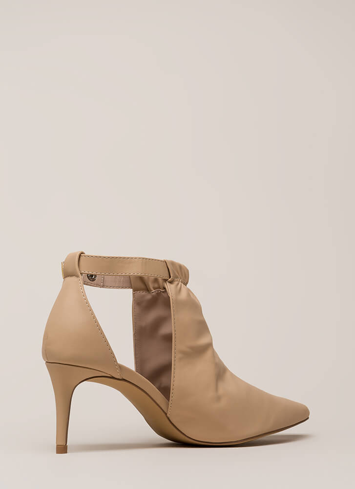 World Traveler Pointy Cut-Out Heels CAMEL